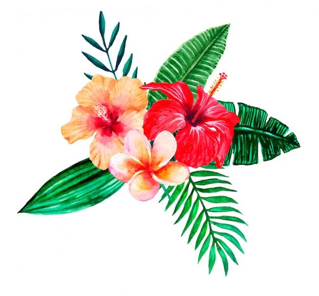 Buquet de flores tropicais em aquarela