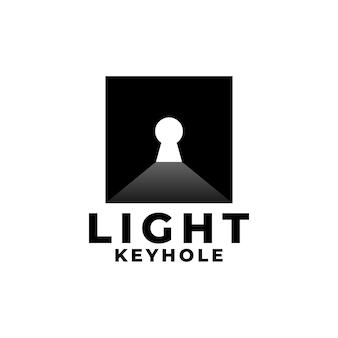 Buraco de fechadura com logotipo elegante de raios de luz para qualquer negócio relacionado à casa
