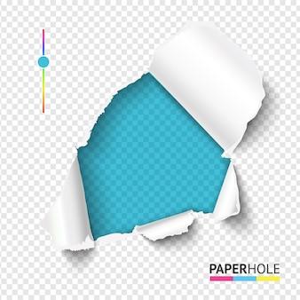 Buraco de papel rasgado azure brilhante com borda rasgada em fundo transparente em branco f