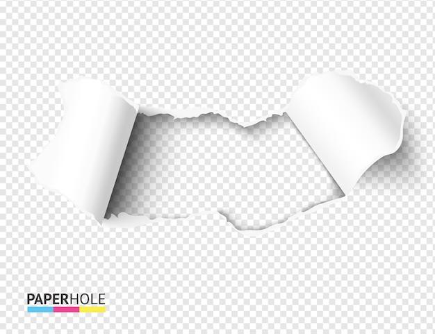 Buraco de papel rasgado em branco com bordas rasgadas dobradas em um fundo vazio