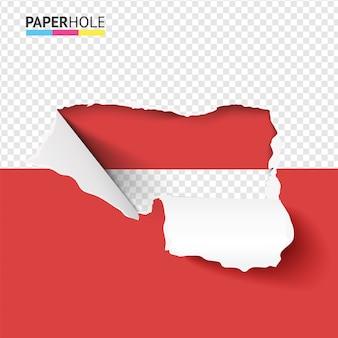 Buraco de papel rasgado meio vazio com bordas rasgadas dobradas em meio bacground vermelho para promoção de venda