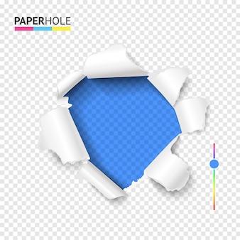 Buraco de papelão rasgado com borda rasgada e pedaços de papel ondulados