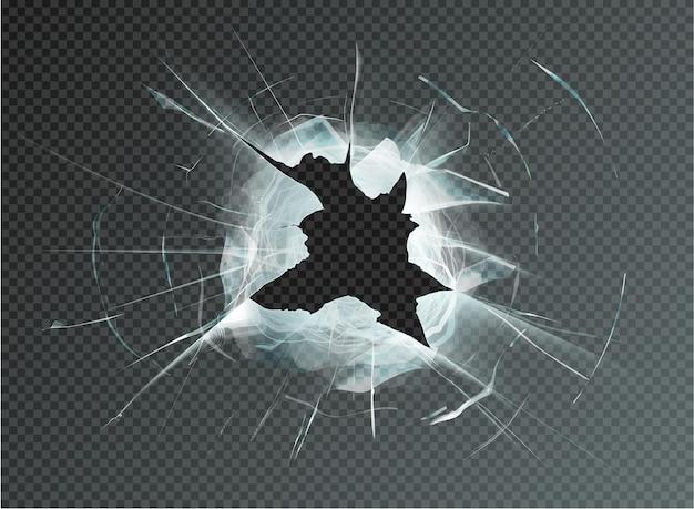 Buraco de vidro quebrado em fundo transparente. ilustração vetorial