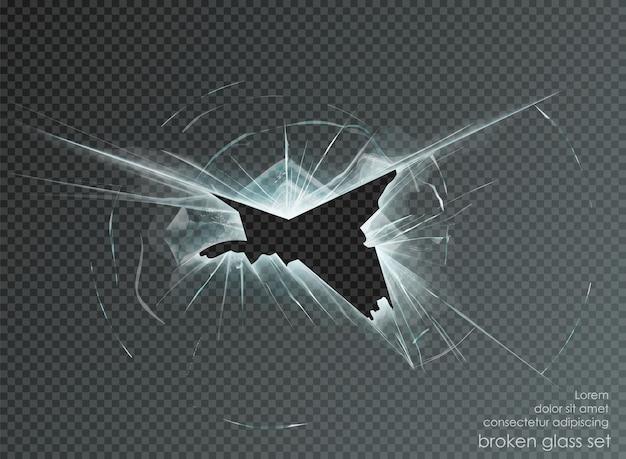 Buraco de vidro quebrado em fundo transparente