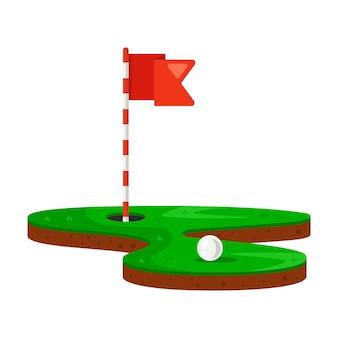 Buraco e bola de golfe em um gramado verde. ilustração vetorial plana.