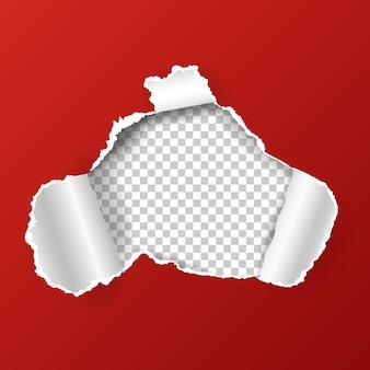 Buraco irregular no papel. fundo abstrato