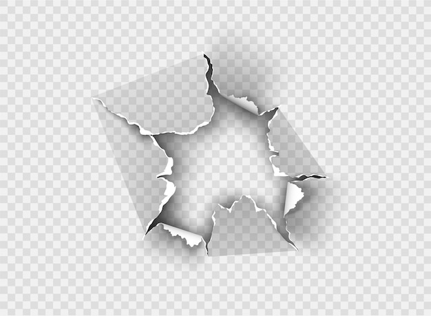 Buraco irregular rasgado em papel rasgado no fundo