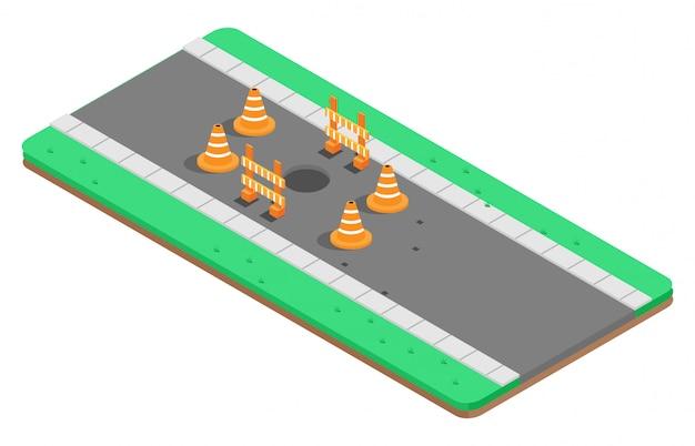 Buraco isométrico em uma rodovia com sinais de aviso