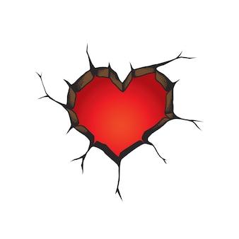Buraco na parede em forma de coração.