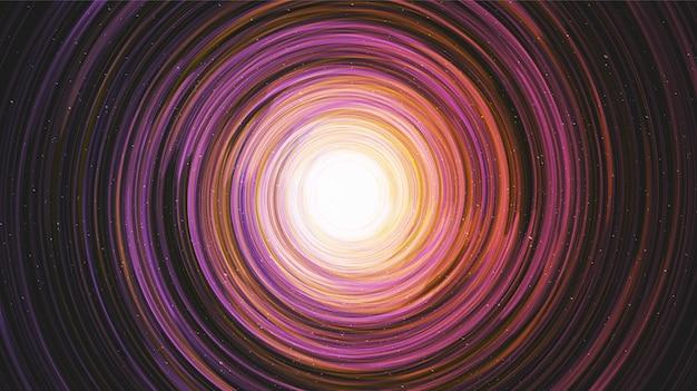 Buraco negro colorido no fundo da galáxia com a espiral da via láctea, conceito de universo