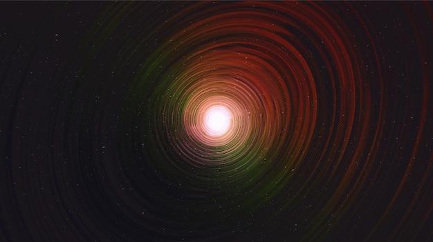 Buraco negro escuro no fundo da galáxia com espiral da via láctea, universo e design de conceito estrelado, vetor
