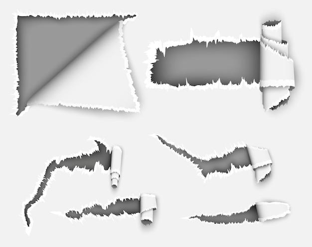 Buraco rasgado de papel na ilustração da folha de papel