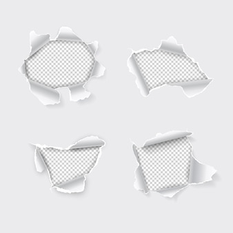 Buraco rasgado definido em papel com fundo transparente.