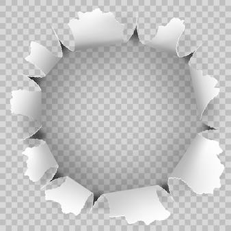 Buraco rasgado e rasgado de efeito de papel.
