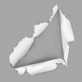 Buraco rasgado no papel em ilustração de estilo realista