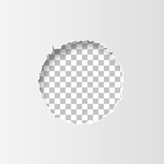 Buraco rasgado no papel no fundo transparente. ilustração vetorial eps10