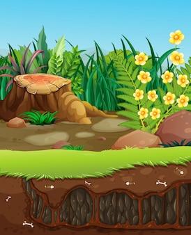 Buraco subterrâneo no jardim