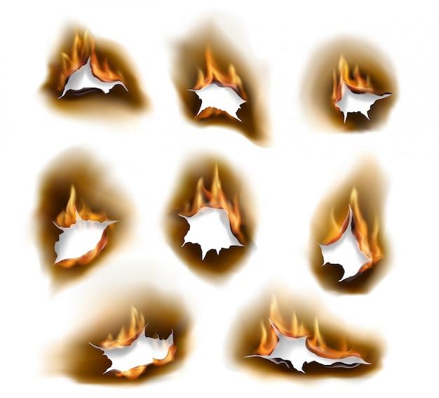 Buracos de papel queimado, fogo de queima realista
