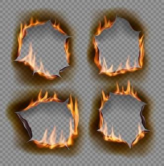 Buracos em chamas queimam fogo de papel com objetos isolados realistas de bordas carbonizadas