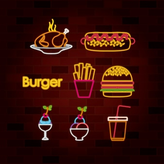 Burger e fast food conjunto de néon assinar na parede de tijolos