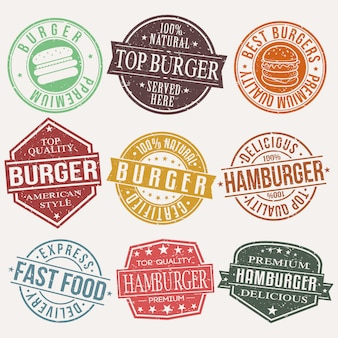 Burger fast food restaurant stamp