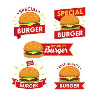 Burger logo design set vector