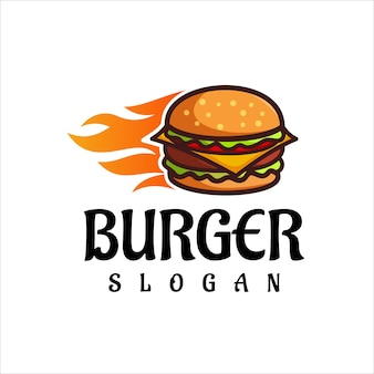 Burger logo design vector restaurante fast food e símbolo de café