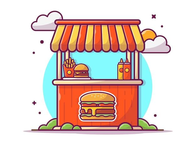 Burger stand fast food street shop com batatas fritas e molho, ilustração branco isolado