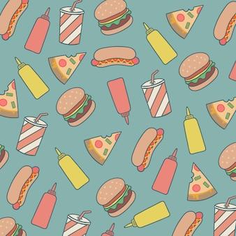 Burgers de padrão e hot dogs e pizzas