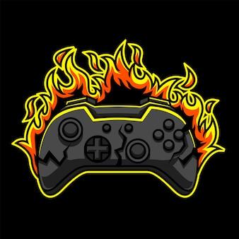 Burning gaming logo premium