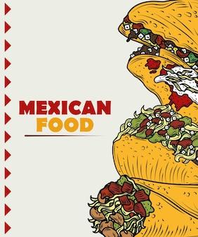 Burrito tradicional de comida mexicana, pimenta com ingrediente de carne, cor vintage gravada