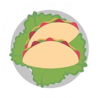 Burritos no prato com alface