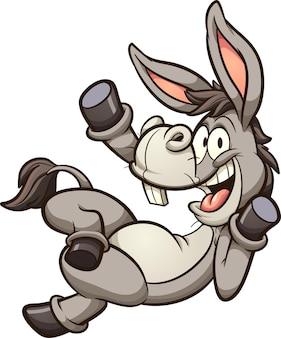 Burro de desenho animado ou mula deitada e acenando feliz