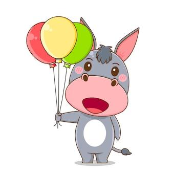 Burro fofo segurando balão
