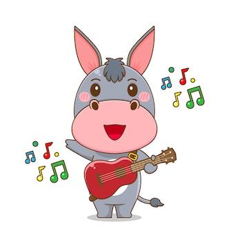 Burro fofo tocando violão