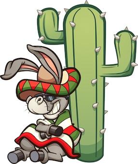 Burro mexicano dos desenhos animados descansando sobre um cacto. ilustração de clip-art com gradientes simples. burro e cacto em camadas separadas.