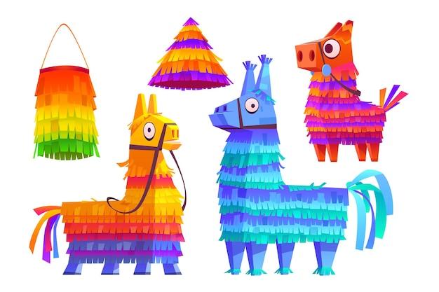 Burros pinatas mexicanos e brinquedos coloridos de lhama com guloseimas para o aniversário de crianças