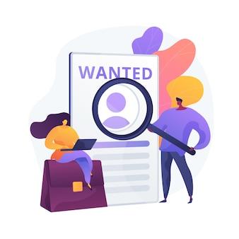 Busca de emprego moderna. contratação de pessoal, recrutamento online, profissão freelance. candidato estudando cartaz de procuração de ajuda. freelancer à procura de encomendas.