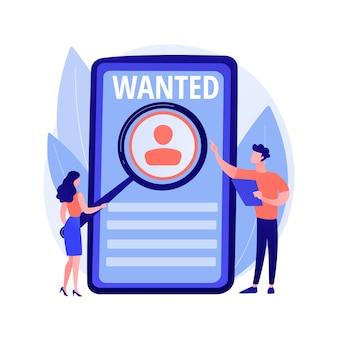 Busca de emprego moderna. contratação de pessoal, recrutamento online, profissão freelance. candidato estudando cartaz de procuração de ajuda. freelancer em busca de ilustração de conceito de pedidos