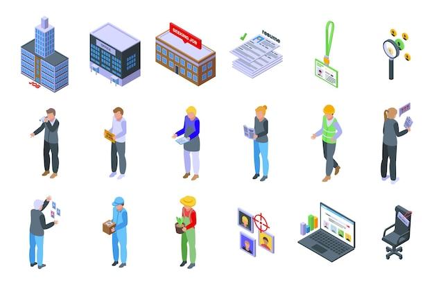 Buscando ícones de trabalho definir vetor isométrico. emprego covid. trabalho perdido