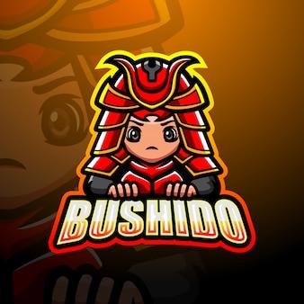 Bushido mascote esport logotipo ilustração