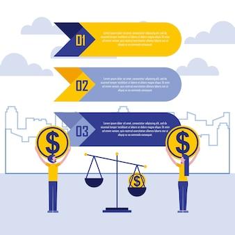 Businespeople com moedas e escala negócio infográfico