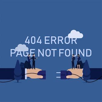 Business 404 erro página não encontrada mão remover equipe de tomada elétrica reclamar.
