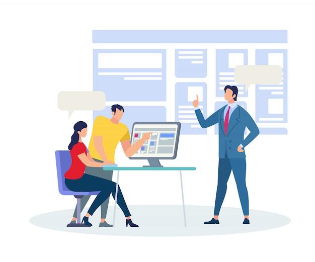 Business coach explicando informações em sala de aula