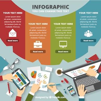 Business colorido modelo de infográfico