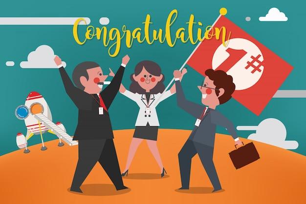 Business concept, equipe de negócios felicita o vencedor do 1º lugar, estilo plano de personagens de desenho animado