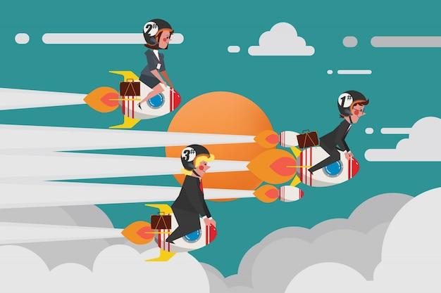 Business concept, young business group junte-se a uma corrida de foguetes desafiadora, estilo plano de personagens de desenho animado