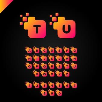 Business corporate square letter font logo design vector. modelo colorido de alfabeto de letras digitais para tecnologia. logotipo de pixel