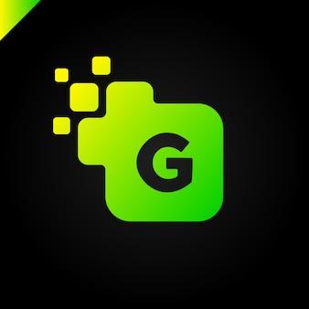 Business corporate square letter g fonte logo design vector. modelo colorido de alfabeto de letras digitais para tecnologia. logotipo de pixel
