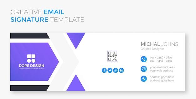 Business corporativo profissional design de assinatura de e-mail azul premium vector